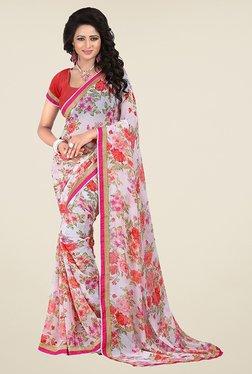 Janasya White & Red Floral Print Chiffon Saree