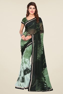 Janasya Green & Black Floral Print Georgette Saree