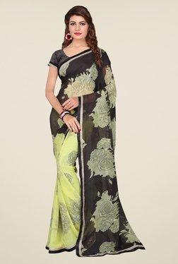 Janasya Yellow & Black Floral Print Georgette Saree