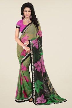 Janasya Green Floral Print Chiffon Saree