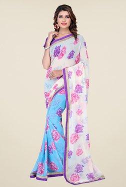 Janasya Blue & White Floral Print Georgette Saree