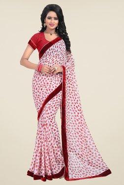 Janasya White & Red Floral Print Georgette Saree
