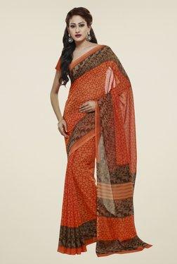 Janasya Orange Printed Georgette Saree
