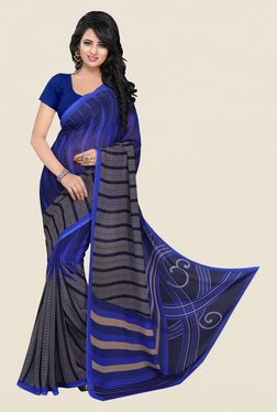 Janasya Grey & Blue Printed Georgette Saree