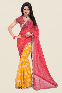 Janasya Yellow & Pink Printed Chiffon Saree