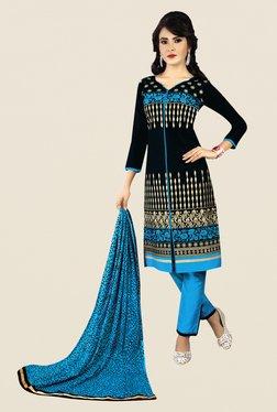 Salwar Studio Black & Blue Embroidered Dress Material