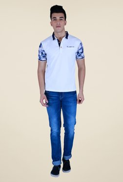 Lawman White Solid Polo T Shirt