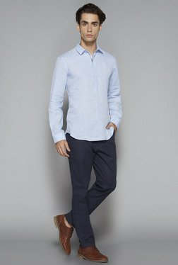 Ascot by Westside Light Blue Textured Slim Fit Shirt