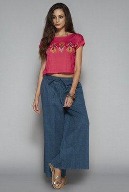 Bombay Paisley By Westside Pink Abstract Print Crop Top