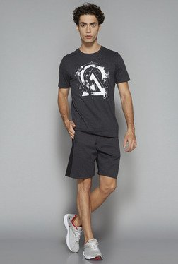 Westsport by Westside Charcoal Textured Slim Fit Shorts