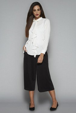 Wardrobe by Westside Black Solid Venus Culottes