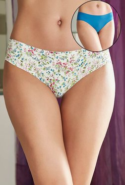 Zivame White & Blue Printed Bikini (Pack Of 2)