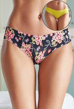 Zivame Navy & Yellow Floral Print Bikini (Pack Of 2)