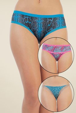 Zivame Blue Printed Bikini (Pack Of 3) - Mp000000000680386