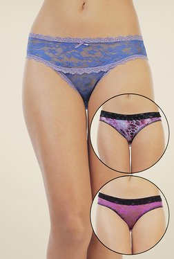 Zivame Blue & Purple Lace Bikini (Pack Of 3)