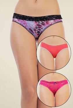 Zivame Purple, Coral & Pink Printed Bikini (Pack Of 3)