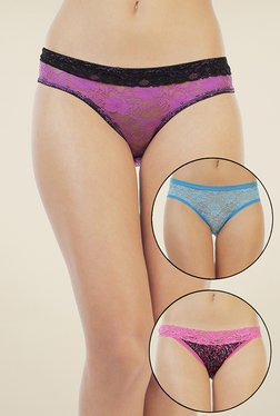 Zivame Purple, Blue & Black Lace Bikini (Pack Of 3)