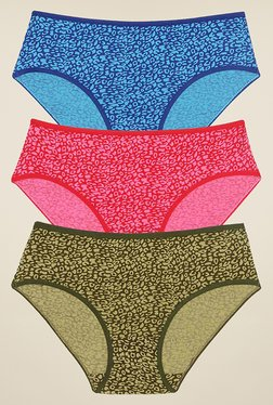 Rosaline By Zivame Blue, Red & Olive Bikini (Pack Of 3) - Mp000000000682084