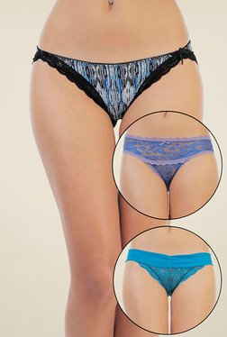Zivame Blue Printed Bikini (Pack Of 3)