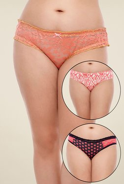Zivame Red, Orange & Black Printed Bikini (Pack Of 3) - Mp000000000682068