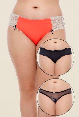 Zivame Orange & Black Printed Bikini (Pack Of 3)