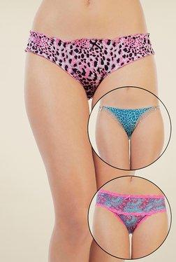 Zivame Pink & Blue Printed Bikini (Pack Of 3)