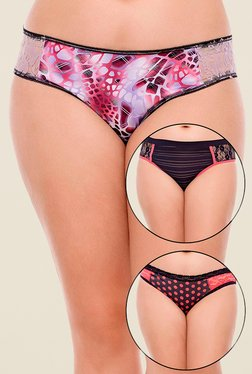 Zivame Purple & Black Printed Bikini (Pack Of 3)