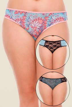 Zivame Blue & Black Printed Bikini (Pack Of 3)