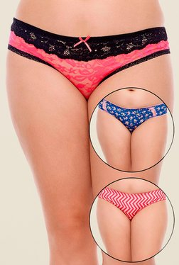 Zivame Pink, Blue & Red Printed Bikini (Pack Of 3)