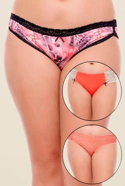 Zivame Orange Printed Bikini (Pack Of 3)
