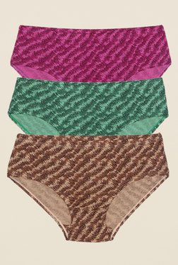 Rosaline By Zivame Purple, Green & Brown Hipster (Pack Of 3)