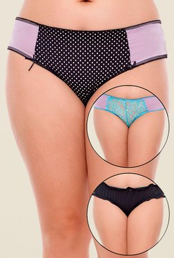 Zivame Black & Blue Printed Bikini (Pack Of 3)