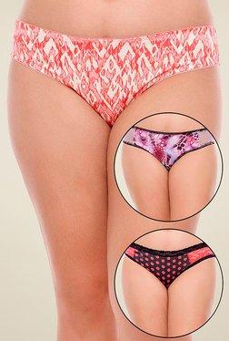 Zivame Orange, Purple & Black Printed Bikini (Pack Of 3)