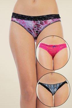 Zivame Violet, Pink & Blue Printed Bikini (Pack Of 3)