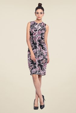 Pera Doce Black & Purple Floral Print Dress