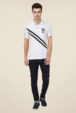 Spunk White S-Cross Polo T Shirt