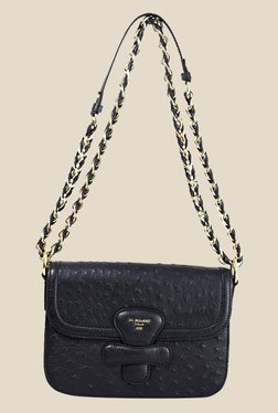 Da Milano Black Textured Leather Sling Bag