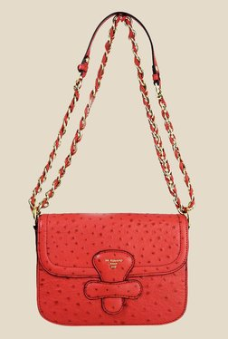 Da Milano Coral Red Textured Leather Sling Bag