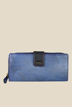 Da Milano Blue Textured Leather Wallet - Mp000000000688801