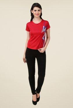 Spunk Red Abstract Print T Shirt