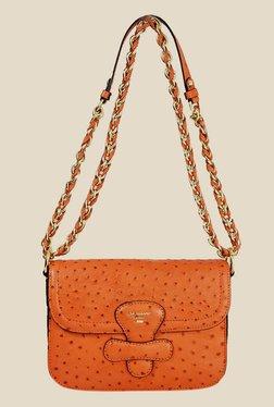 Da Milano Orange Textured Leather Sling Bag
