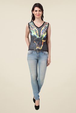 Spunk Black Printed Dove T Shirt