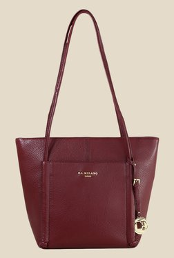 Da Milano Berry Leather Tote Bag