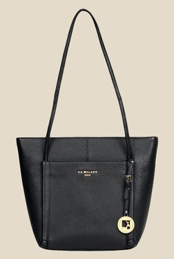 Da Milano Black Leather Tote Bag