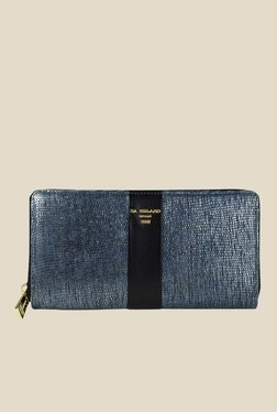 Da Milano Blue Textured Leather Wallet