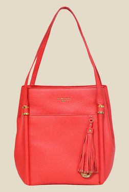Da Milano Coral Red Leather Shoulder Bag
