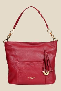 Da Milano Berry Leather Shoulder Bag