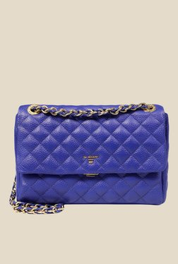 Da Milano Royal Blue Quilted Leather Sling Bag