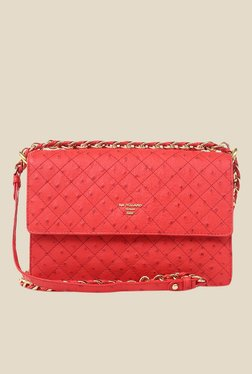 Da Milano Coral Red Leather Sling Bag
