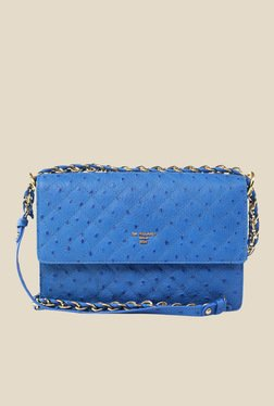 Da Milano Blue Leather Sling Bag